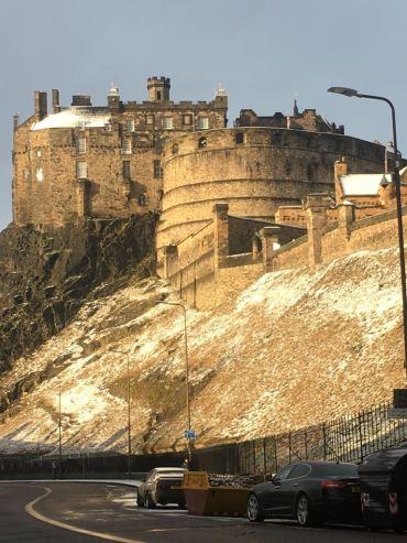 Edinburgh castle in the snow, by Gillian