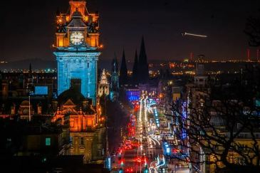 Balmoral and Princes Street by night Edinburgh by night (credit and copywright: Andrew Palmer)